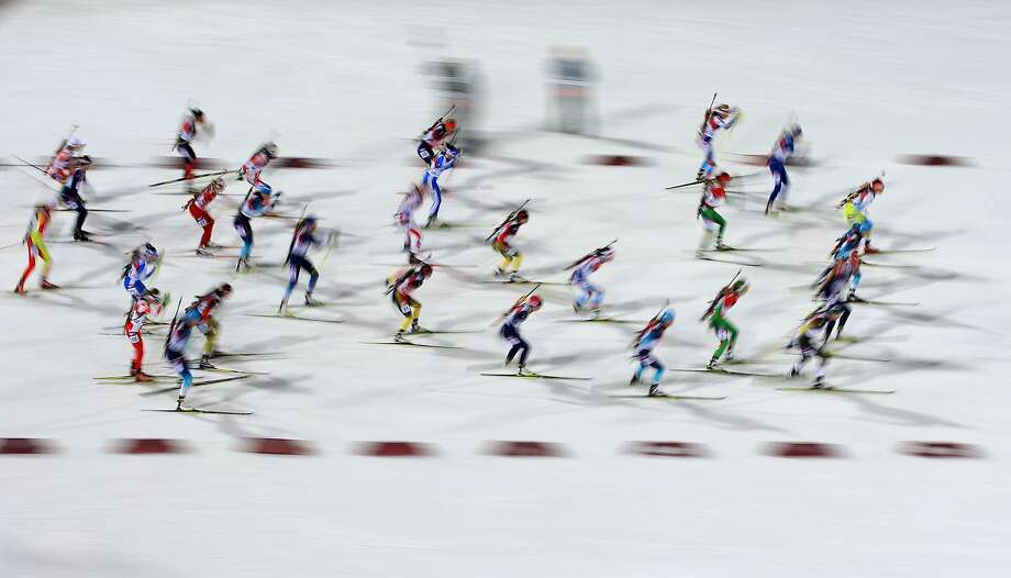 Athletes compete in the Women's 12.5 km Mass Start during day ten of the Sochi 2014 Winter Olympics at Laura Cross-country Ski & Biathlon Center on February 17, 2014 in Sochi, Russia. Photo: Richard Heathcote, Getty Images