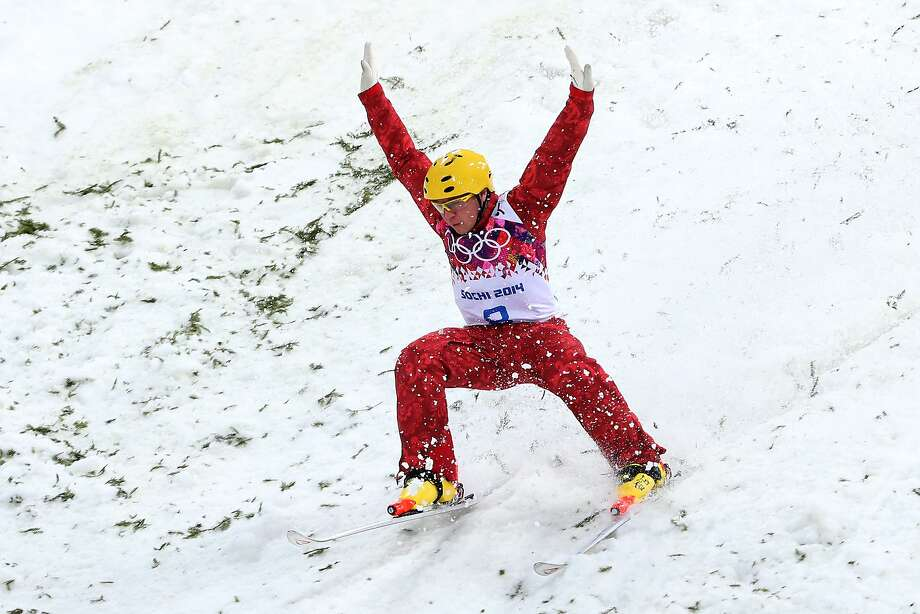 Pavel Krotov of Russia celebrates in the Freestyle Skiing Men's Aerials Qualification on day ten of the 2014 Winter Olympics at Rosa Khutor Extreme Park on February 17, 2014 in Sochi, Russia.  Photo: Quinn Rooney, Getty Images