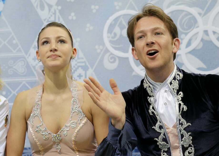Tanja Kolbe and Stefano Caruso of Germany wait in the results area after competing in the ice dance free dance figure skating finals at the Iceberg Skating Palace during the 2014 Winter Olympics, Monday, Feb. 17, 2014, in Sochi, Russia. Photo: Vadim Ghirda, Associated Press