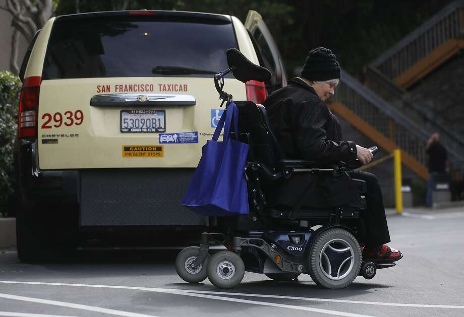 A file photo of a power wheelchair in San Francisco. A Bay Area doctor was sentenced to two years in prison and ordered to 