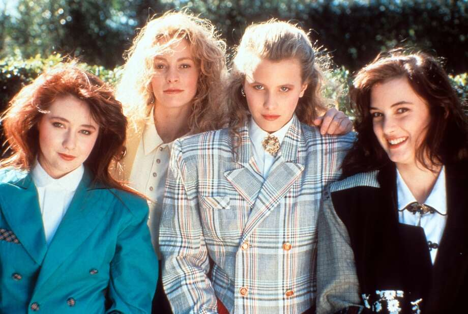 "From left to right, Shannen Doherty, Lisanne Falk, Kim Walker and Winona Ryder on set of the film ""Heathers,"" 1988. Photo: Archive Photos, Getty Images"