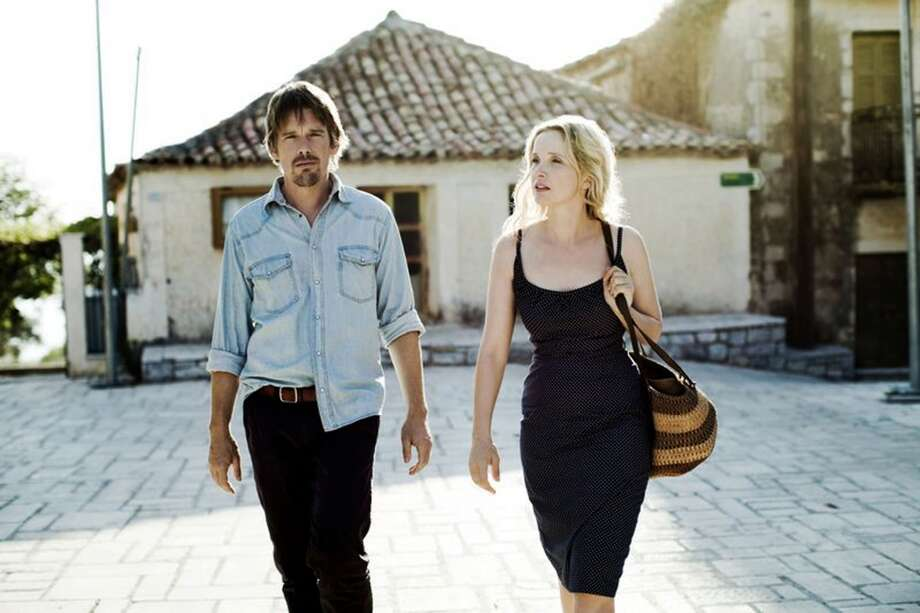 """Ethan Hawke, left, and Julie Delpy, in a scene from the Richard Linklater film """"Before Midnight,"""" 2013. Photo: Despina Spyrou, Associated Press"""