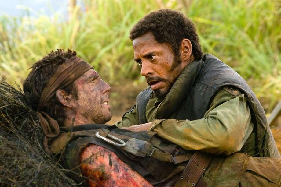 "Ben Stiller, left, and Robert Downey Jr. in a scene from, ""Tropic Thunder,"" 2008. Photo: Merie Weismiller Wallace, AP"