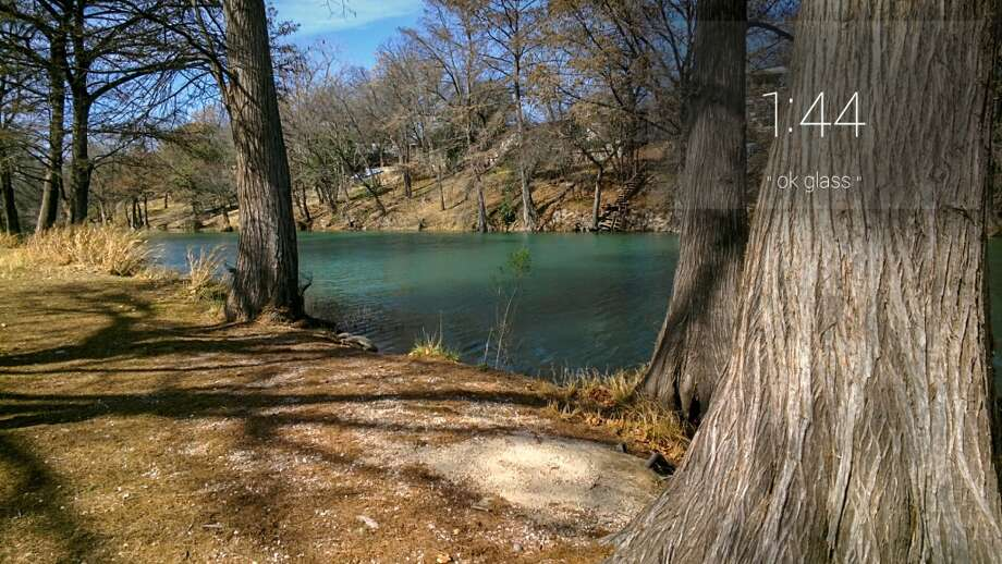 Cypress trees line the Guadalupe River