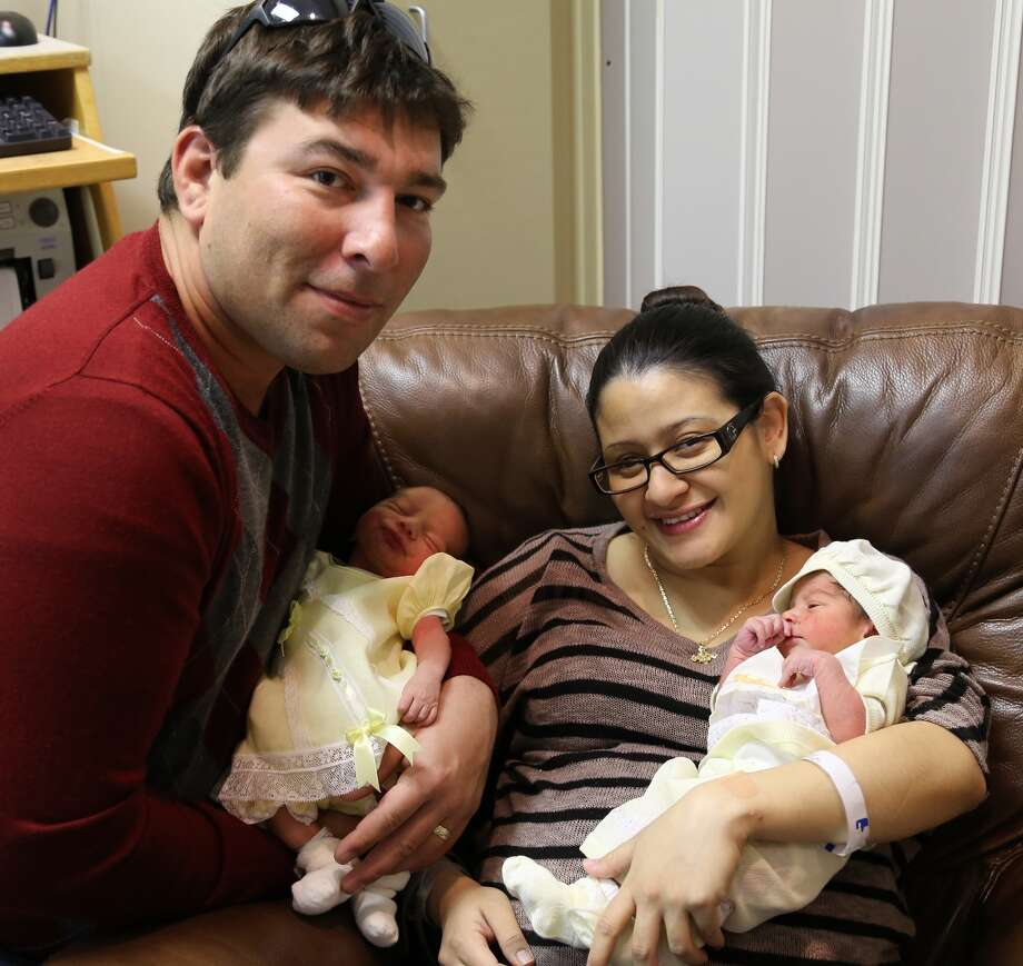 Eric and Yamileth Castaneda of Baytown pose with their twins Grace, left, and Emmanuel, the last babies born at the former Christus St. John Hospital in Nassau Bay. Photo courtesy of Houston Methodist.