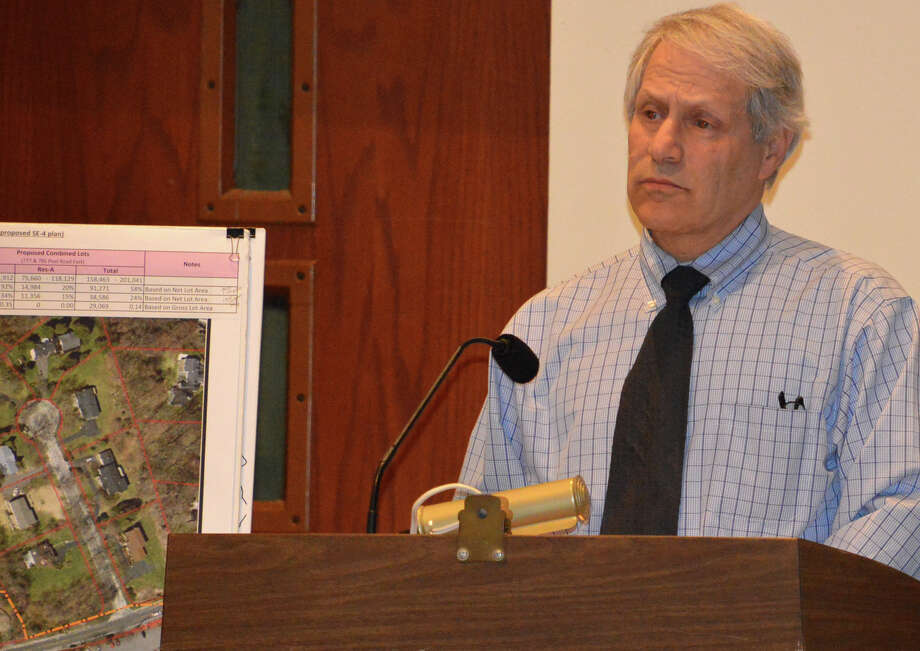 Richard Redniss, principal with Redniss & Mead, Inc., a Stamford-based engineering firm, speaks at a recent Planning and Zoning Commission meeting on behalf New Country Toyota's proposed zone amendment that could allow for some commercial uses on neighboring residential properties. Photo: Jarret Liotta / Westport News contributed
