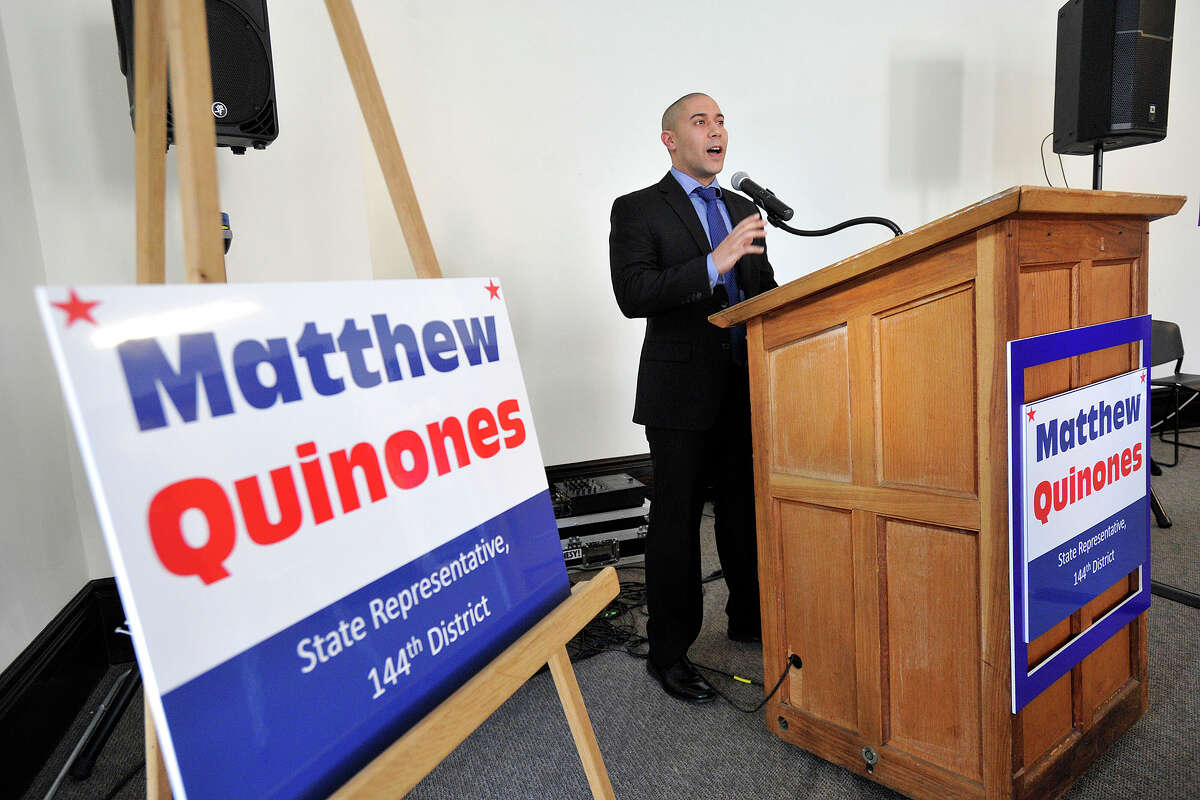 Matthew Quinones, a Democrat on the Board of Representatives in District 16, announces his candidacy for State Representative in the 144th District at the Stamford Old Town Hall in Stamford, Conn., on Monday, Feb. 17, 2014.