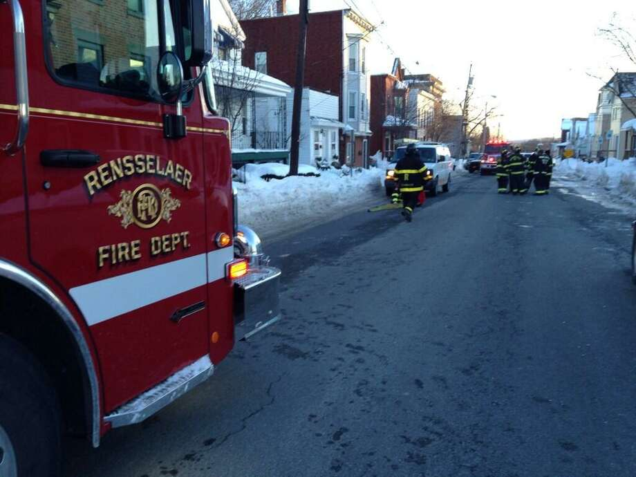 Part of Third Street in Rensselaer near Glen Street was closed due to a small gas leak. (Lori Van Buren/Times Union)