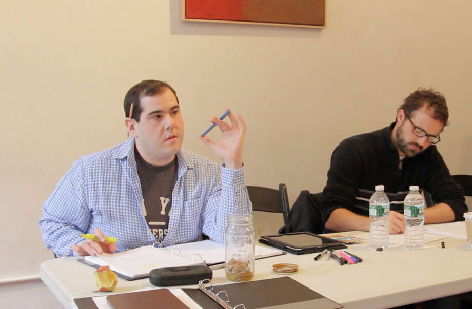 "Greenwich playwright Rocco Natale (left) and director Ross Evans at a rehearsal for ""Room at the End of the Hall"" which will be presented in New York March 6 to 8. Photo: Contributed Photo / Connecticut Post Contributed"