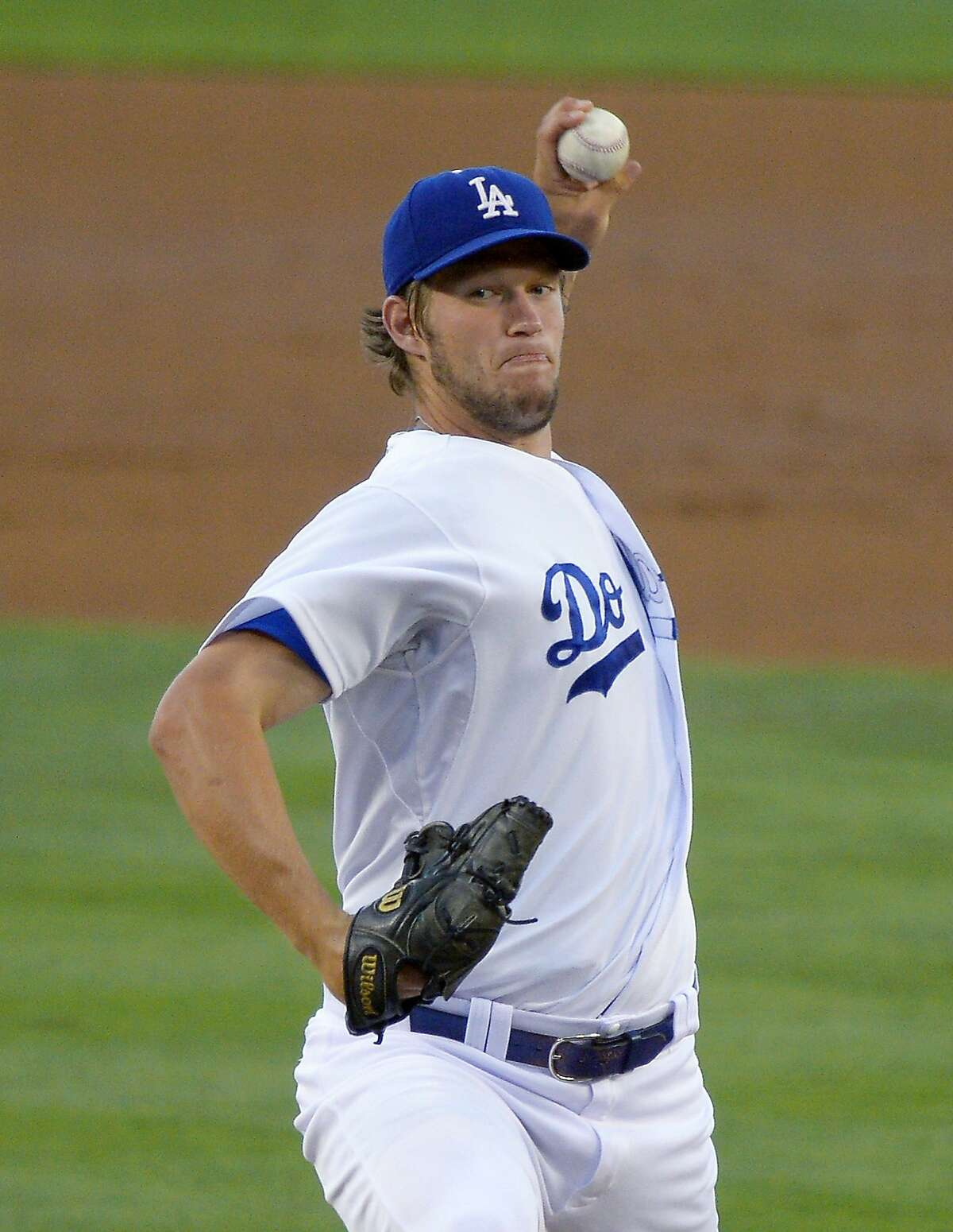 Los Angeles Dodgers starting pitcher Clayton Kershaw throws to the plate during the second inning of a baseball game against the San Francisco Giants, Wednesday, June 26, 2013, in Los Angeles. (AP Photo/Mark J. Terrill)