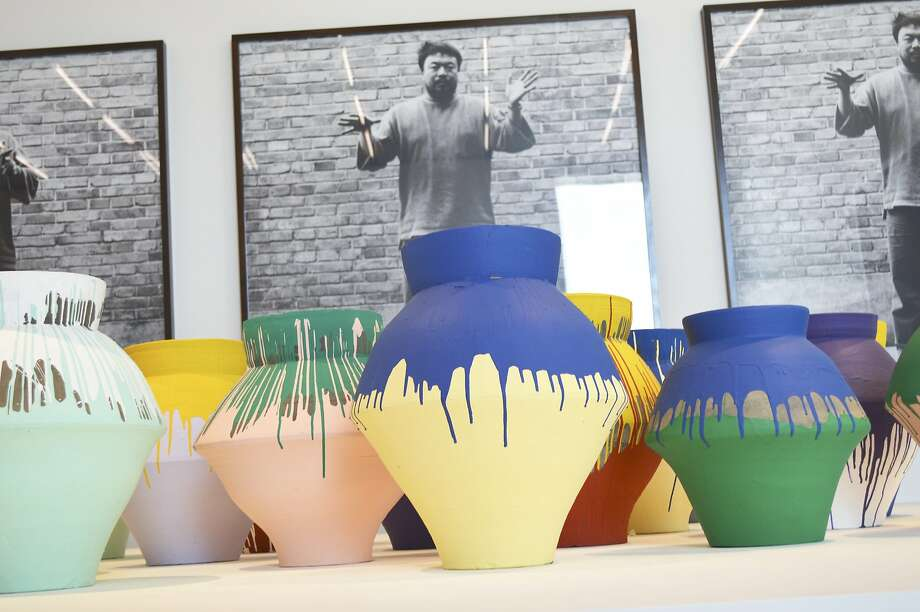 The vases were dipped in paint by Ai Weiwei. Photo: Zachary Fagenson, Reuters