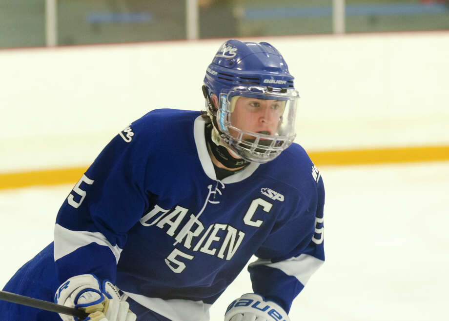 Darien's Owen Koorbusch (5) on the ice during the boys ice hockey game against Notre Dame West Haven at Bennett Skating Rink in West Haven on Monday, Feb. 17, 2014. Photo: Amy Mortensen / Connecticut Post Freelance