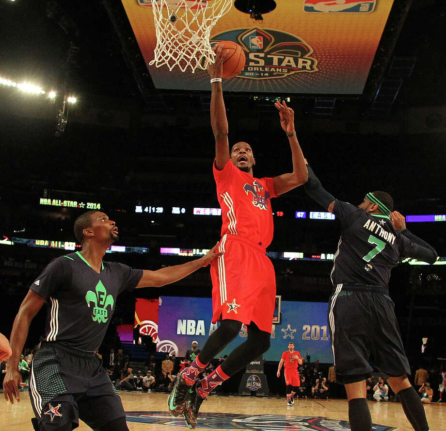 West Team's Kevin Durant, of the Oklahoma City Thunder (35) heads to the hoop against =Team East during the NBA All Star basketball game, Sunday, Feb. 16, 2014, in New Orleans. (AP Photo/Bob Donnan, Pool)  ORG XMIT: LAMS157 Photo: Bob Donnan / USA TODAY Sports