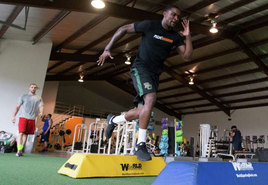 In preparing for this week's NFL draft combine, Demetri Goodson has been breaking down six drills in minute detail during daily workouts at Plex Fitness. Photo: J. Patric Schneider, Freelance / © 2014 Houston Chronicle