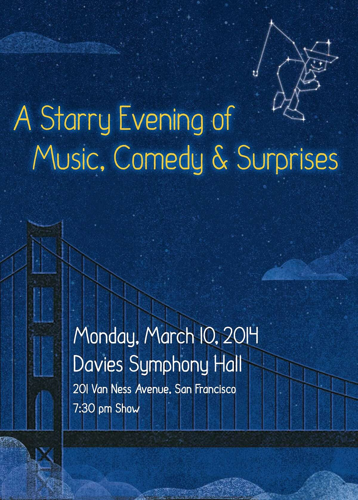 """?'A Starry Evening of Music, Comedy & Surprises?"""" takes place March 10 at Davies Symphony Hall and features Annette Bening, Danny DeVito, Josh Groban, Randy Newman, Jack Nicholson, Bonnie Raitt and RenŽe Zellweger."""