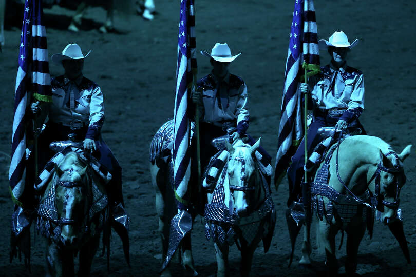 Members of the Jack Sellers Bexar County Palomino Patrol, Inc. take part in the grand entry during t