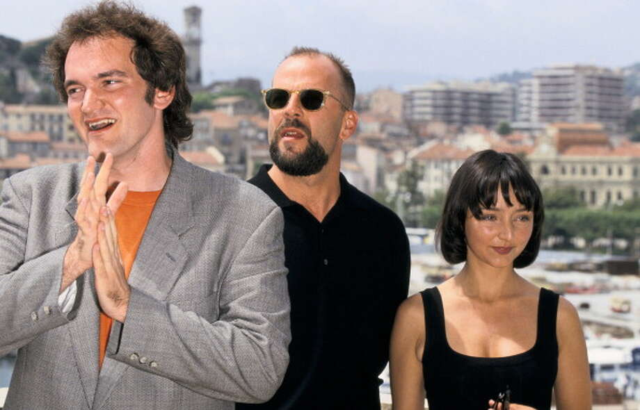 "FRANCE - MAY 20:  Cannes Film Festival, ""Pulp Fiction"" In Cannes, France On May 20, 1995-Quentin Tarantino, Bruce Willis and Maria de Meideros.  (Photo by Pool BENAINOUS/DUCLOS/Gamma-Rapho via Getty Images) Photo: Pool BENAINOUS/DUCLOS, Gamma-Rapho Via Getty Images / 2011 Gamma-Rapho"