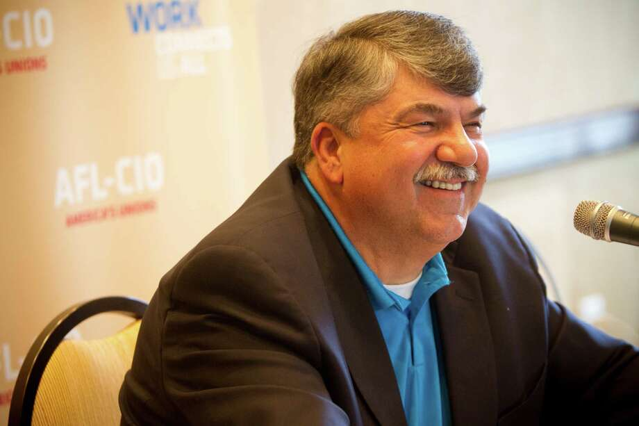 Richard Trumka, the president of the AFLCIO gives a press conference at the Hilton Americas, Monday, Feb. 17, 2014, in Houston. Trumka said the purpose of meeting in Texas for the first time is to show commitment to the Texas workforce. ( Marie D. De Jeséºs / Houston Chronicle ) Photo: Marie D. De Jeséºs, Staff / © 2014 Houston Chronicle