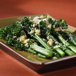 """Broccoli rabe (BROK-ah lee rob): From the turnip family, broccoli rabe is a leafy green with small broccoli-like florets. Both are edible. Audio: Click here to hear the term """"Broccoli rabe."""""""
