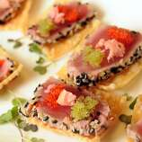 """Hors d'oeuvre (or-DURV): A small savory appetizer. Audio: Click here to hear the term """"Hors d'oeuvre."""""""