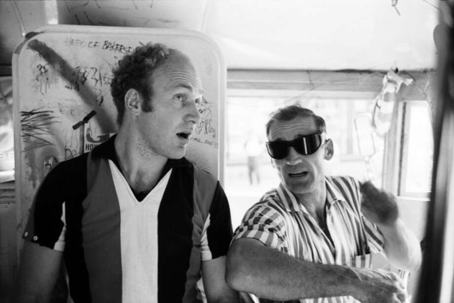 Two finalists:  Author Ken Kesey and Beat legend Neal Cassady onboard the legendary Merry Pranksters' Day-Glo Bus  in June 1964 in New York City, New York. For sure, they knew some cool people, if they were only almost cool. Photo: The Estate Of David Gahr, Getty Images / 1964 David Gahr