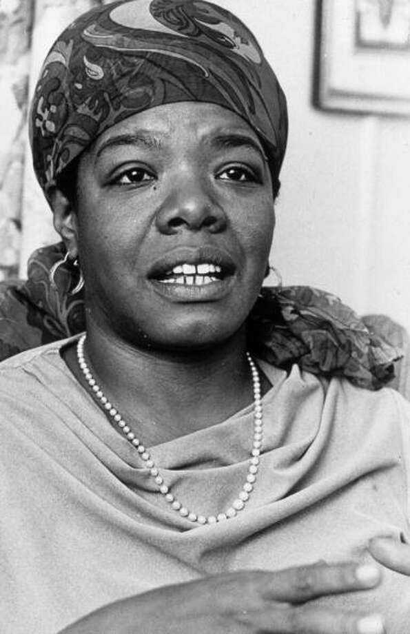 14th March 1972:  Headshot of American poet and author Maya Angelou talking at the Algonquin Hotel, New York City. She wears a scarf tied over her head and a pearl necklace.  (Photo by Edward A. Hausner/New York Times Co./Getty Images) Photo: Edward A. Hausner, Getty Images / Archive Photos