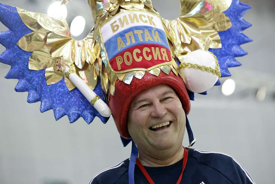 Russian skating fan Andrei Kozlov arrives at the Adler Arena Skating Center to watch the men's 10,000-meter speedskating race during the 2014 Winter Olympics in Sochi, Russia, Tuesday, Feb. 18, 2014.  Photo: Patrick Semansky, Associated Press
