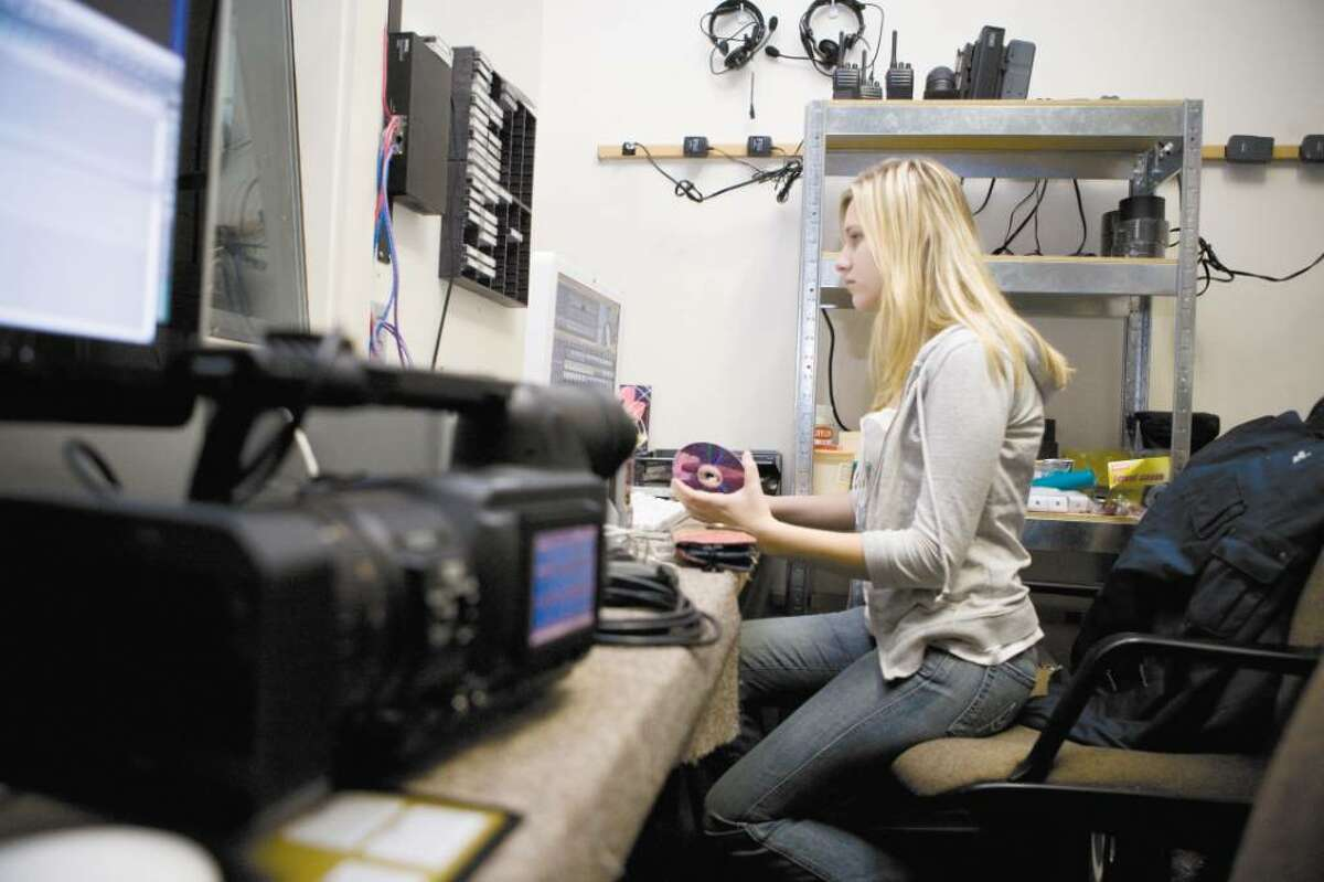 As part of her AITE Media Technology class, junior Carolina Solohub, 16, works on editing a video for the Board of Ed about the problems students experience with the writing process.
