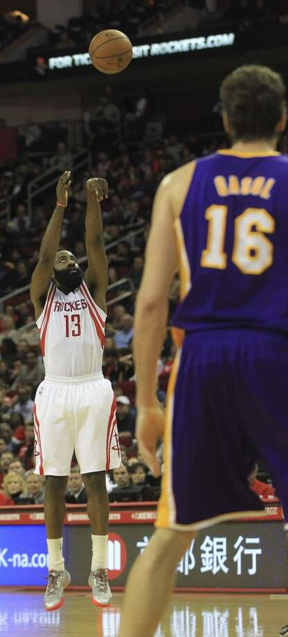 5. James Harden's 3-point shooting touch has fallen off sharply from his first season with the Rockets. His scoring and shooting percentage is down from last season, but that is largely because he has not shot as well from distance. The Rockets might need him to regain last season's 3-point shooting success. Photo: Karen Warren, Houston Chronicle