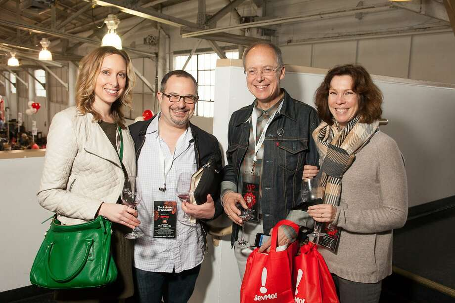 Valerie Masten, Chronicle Wine Editor Jon Bonné, Charles Desmarais and Chronicle Assistant Managing Editor Kitty Morgan at the San Francisco Chronicle Wine Competition Public Tasting on Feb. 15, 2014, at Fort Mason in San Francisco. Photo: Dan Dion- Special To The Chronic, Special To The Chronicle