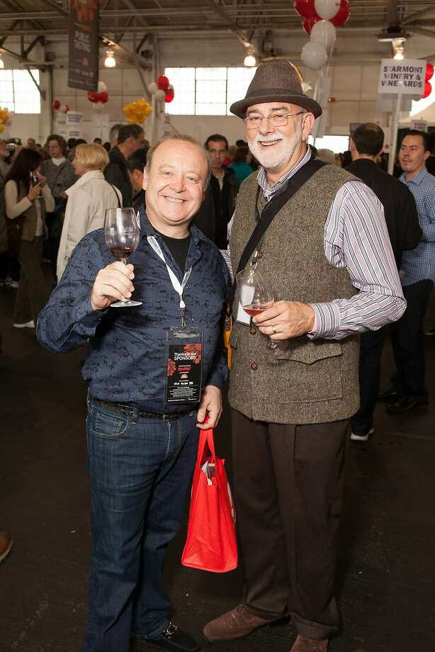 BevMo! CEO Alan Johnson and SF Wine Comp Director of Judging Tim McDonald at the San Francisco Chronicle Wine Competition Public Tasting on Feb. 15, 2014, at Fort Mason in San Francisco. Photo: Dan Dion- Special To The Chronic, Special To The Chronicle