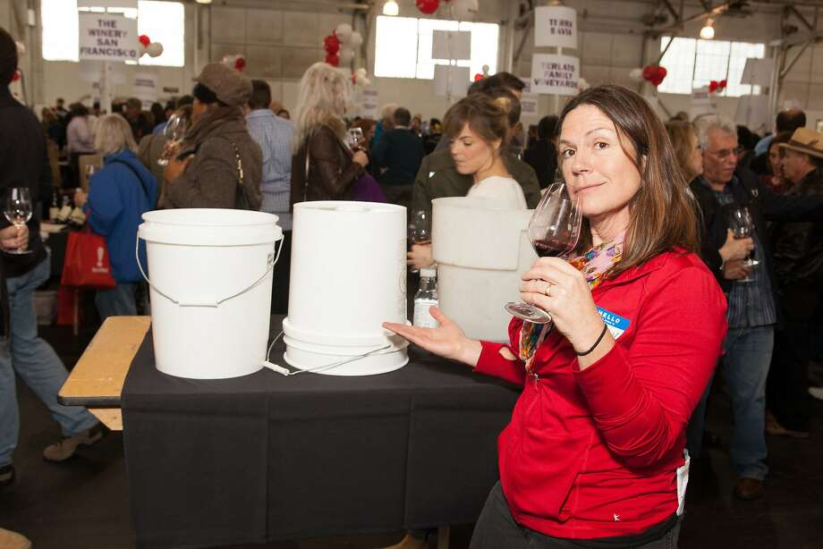 Spit Bucket Brigade supervisor Susan Barber at the San Francisco Chronicle Wine Competition Public Tasting on Feb. 15, 2014, at Fort Mason in San Francisco. Photo: Dan Dion- Special To The Chronic, Special To The Chronicle