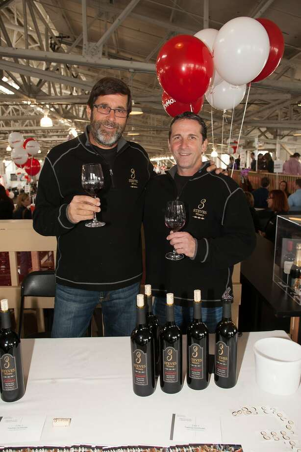 Winemakers Steve Melander and Steve Burman of 3 Steves Winery, co-winner of the red sweepstakes,  at the San Francisco Chronicle Wine Competition Public Tasting on Feb. 15, 2014, at Fort Mason in San Francisco. Photo: Dan Dion- Special To The Chronic, Special To The Chronicle