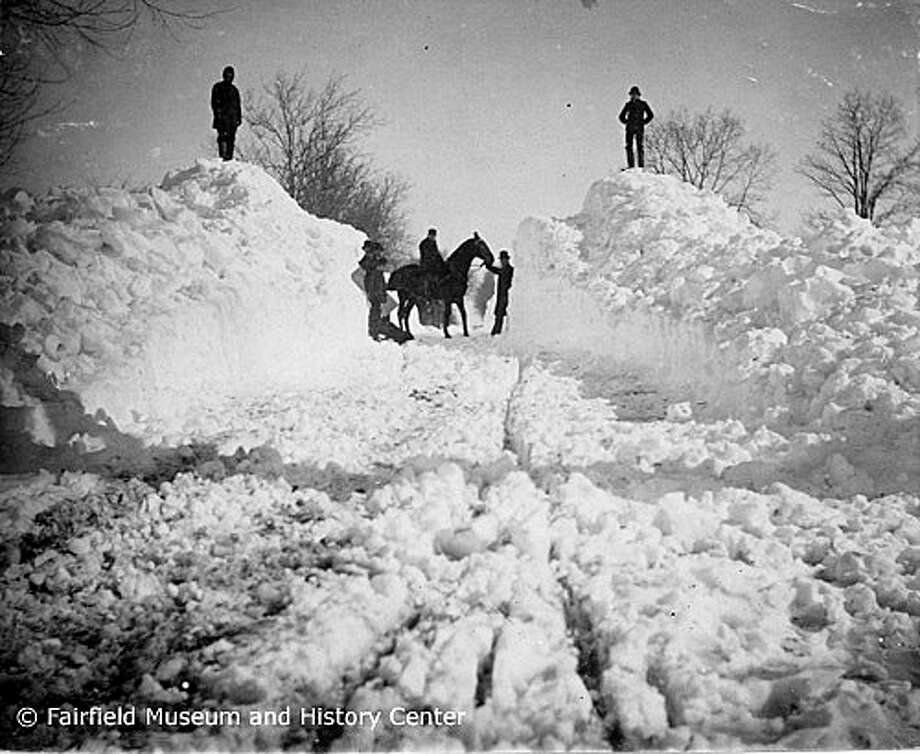 Think there's a lot of snow now? The Great White Blizzard of 1888 paralyzed the state when it hit March 12. Photo: Fairfield Museum And History Cen / Fairfield Citizen