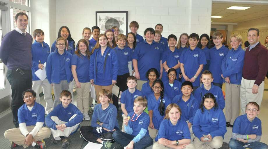Three of Middlesex Middle School's four teams finished in the top 15 percent of the third annual Charter Oak Scholastic Open Quiz Bowl in January, hosted by the Darien school. The teams qualified for the national championship tournament in Atlanta in May. Photo: Contributed Photo, Contributed / Darien News