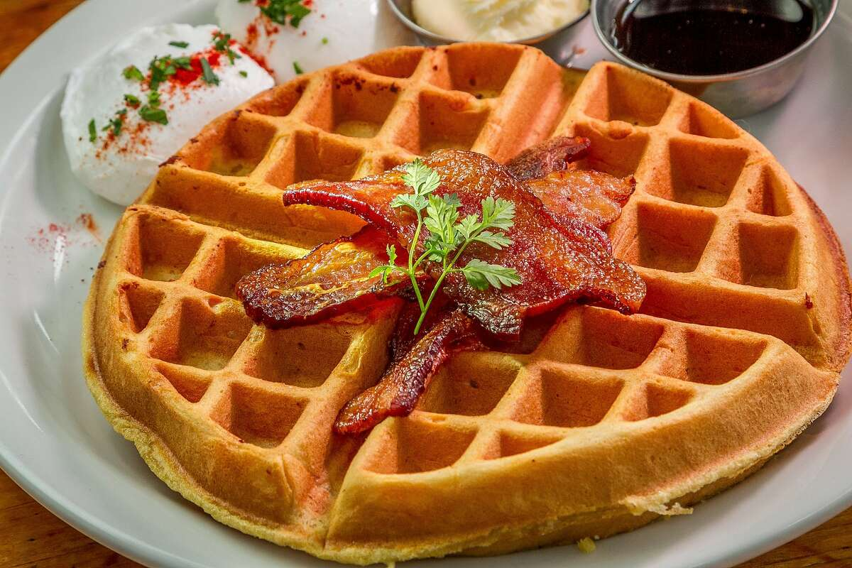 The Waffle Supreme with Bacon at Actual Cafe in Oakland, Calif., is seen on February 6th, 2014.