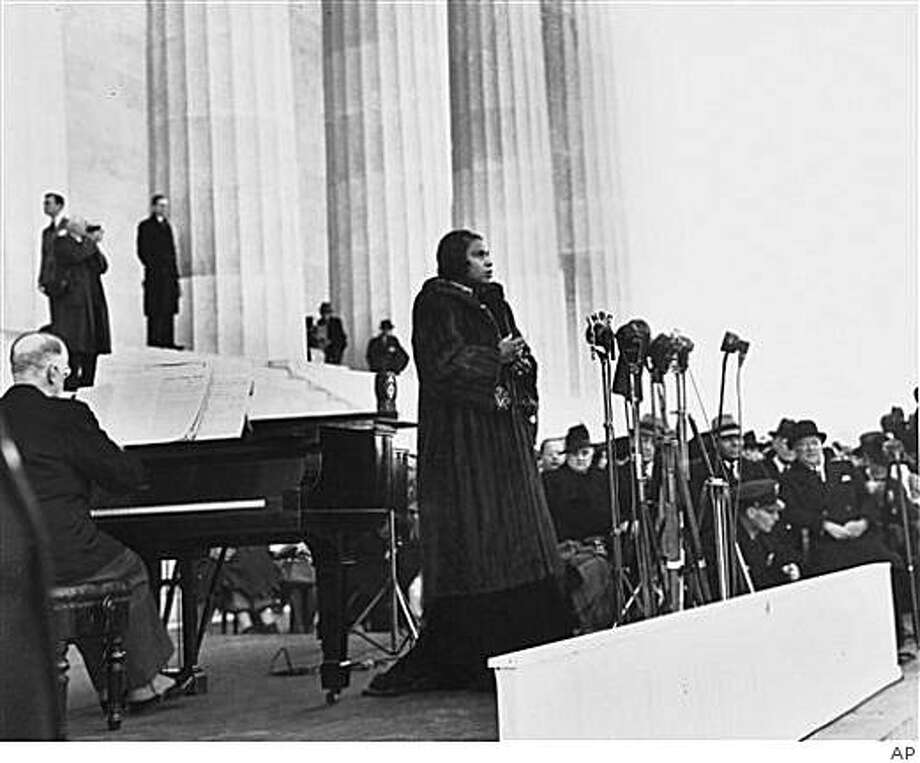 In April 9, 1939 photo, famed contralto singer and Danbury native Marian  Anderson performs on the steps of Washington's Lincoln Memorial on  Easter Sunday after she had been refused permission to perform in  Washington D.C.'s Constitution Hall by the hall's owners, the Daughters of  the American Revolution. After the DAR objected to Anderson's race, First Lady Eleanor Roosevelt helped her set up the concert. (AP Photo, File)