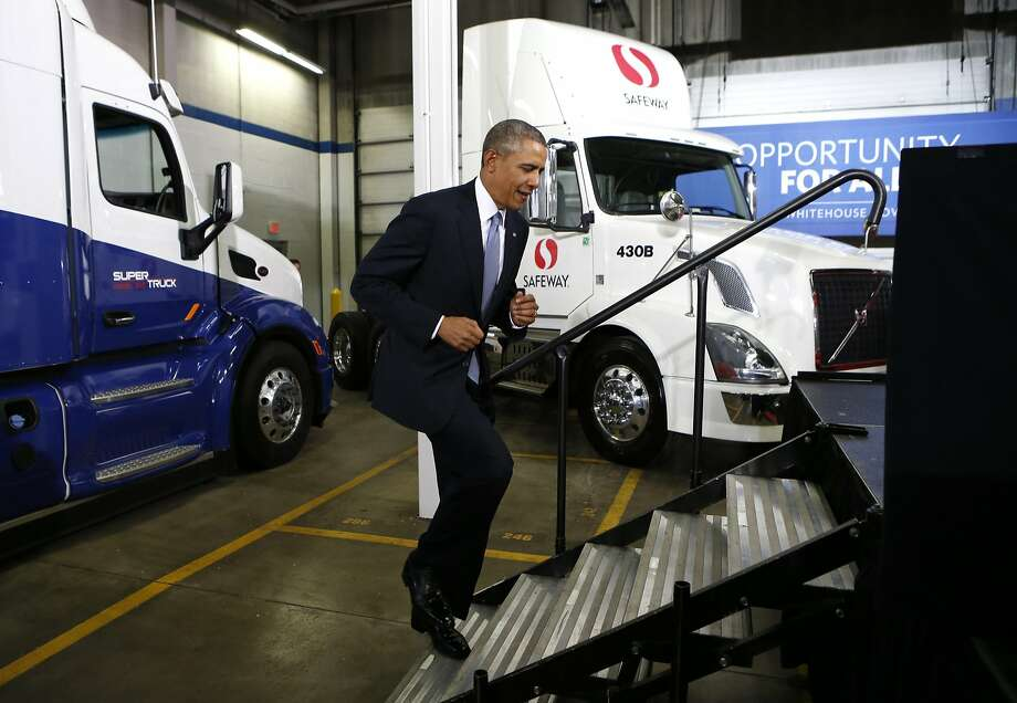 President Obama visits a Safeway distribution center in Maryland to discuss truck fuel standards. Photo: Kevin Lamarque, Reuters