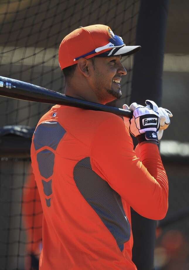 Jesus Guzman at the batting cages during workouts for early-arriving position players. Photo: Karen Warren, Houston Chronicle
