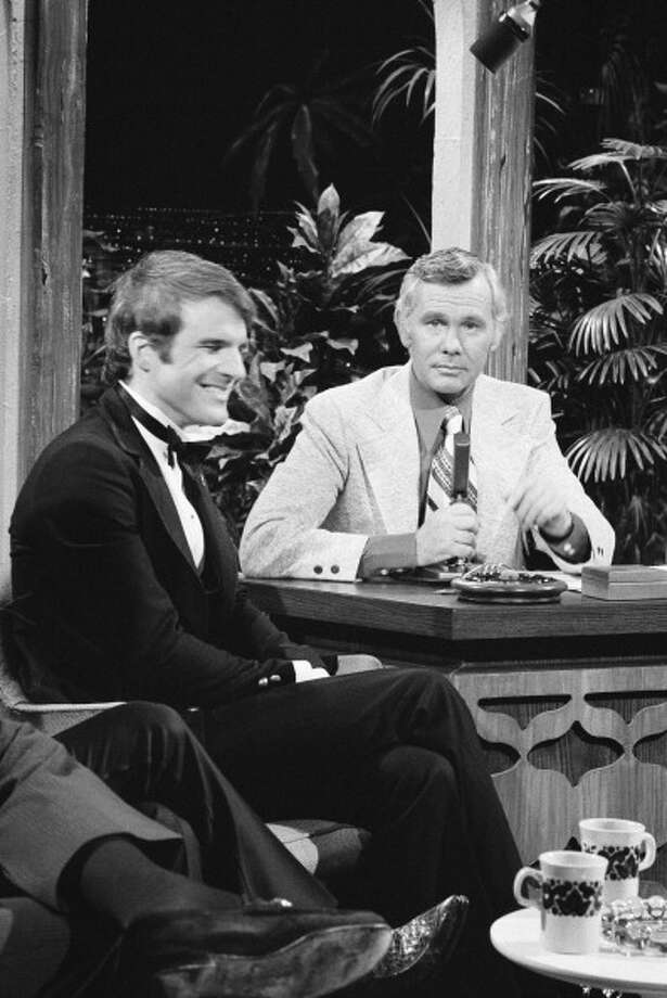 Steve Martin, before his appearance as a guest host, visits with host Johnny Carson on Oct. 12, 1972. Photo: NBC, NBC Via Getty Images / © NBC Universal, Inc..