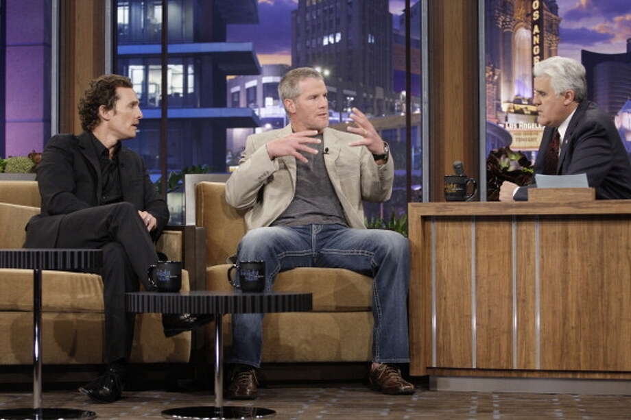 Matthew McConaughey and Brett Favre chat during an interview with host Jay Leno on March 4, 2010. Photo: NBC, NBC Via Getty Images / 2012 NBCUniversal, Inc.