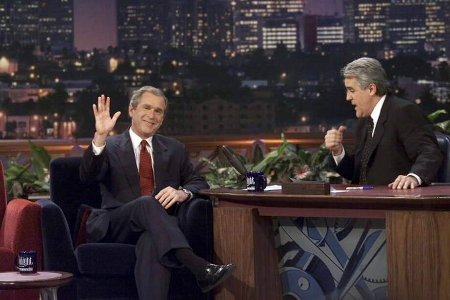 George W. Bush sat down for an interview with Jay Leno on March 6, 2000. Photo: NBC, NBC Via Getty Images / 2012 NBCUniversal, Inc.