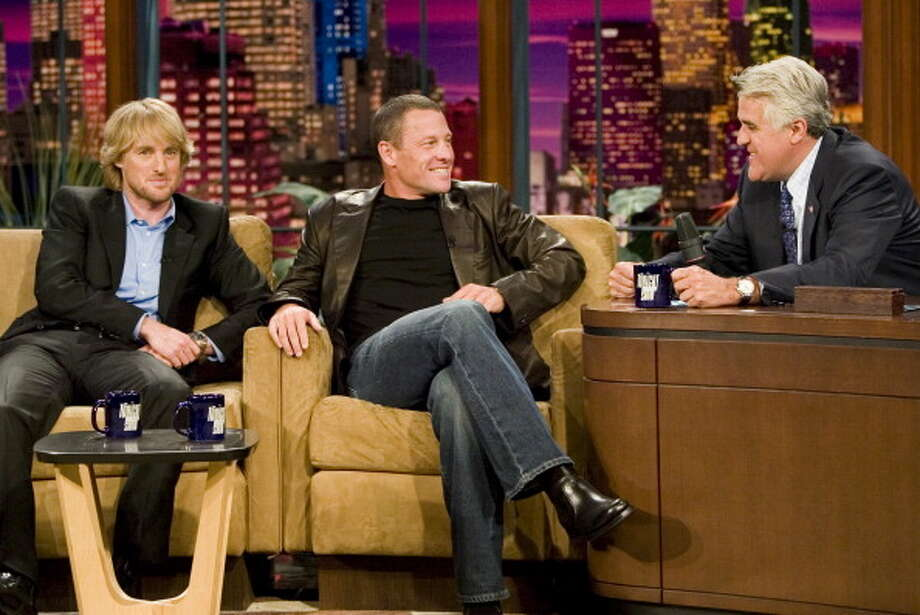 Owen Wilson and Lance Armstrong visit with Jay Leno on July 11, 2006. Photo: NBC, NBC Via Getty Images / 2012 NBCUniversal, Inc.