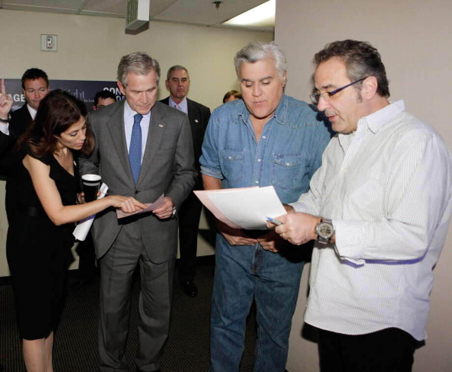 George W. Bush is pictured backstage with host Jay Leno on Nov. 18, 2010. Photo: NBC, NBC Via Getty Images / © NBC Universal, Inc.