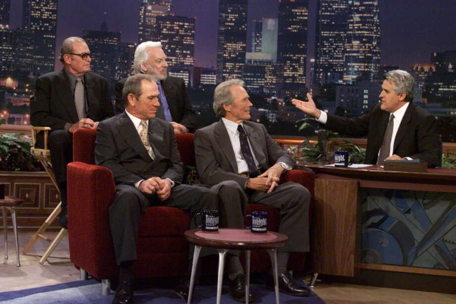 James Garner, Donald Sutherland, Tommy Lee Jones and Clint Eastwood interviewed with host Jay Leno on Aug. 1, 2000. Photo: NBC, NBCU Photo Bank Via Getty Images / 2012 NBCUniversal Media, LLC