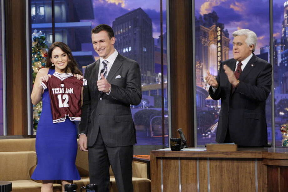 Megan Fox and Johnny Manziel interviewed with host Jay Leno on Dec. 17 2012. Photo: NBC, NBCU Photo Bank Via Getty Images / 2012 NBCUniversal Media, LLC