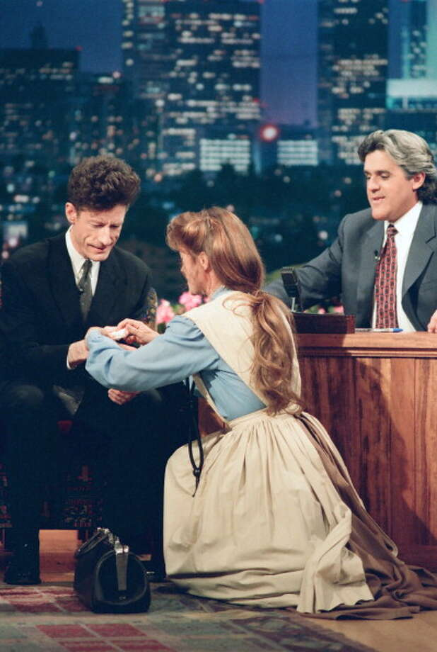 Lyle Lovett and Jane Seymour are pictured with host Jay Leno during an interview on Nov. 3, 1994. Photo: NBC, NBCU Photo Bank Via Getty Images / 2013 NBCUniversal Media, LLC