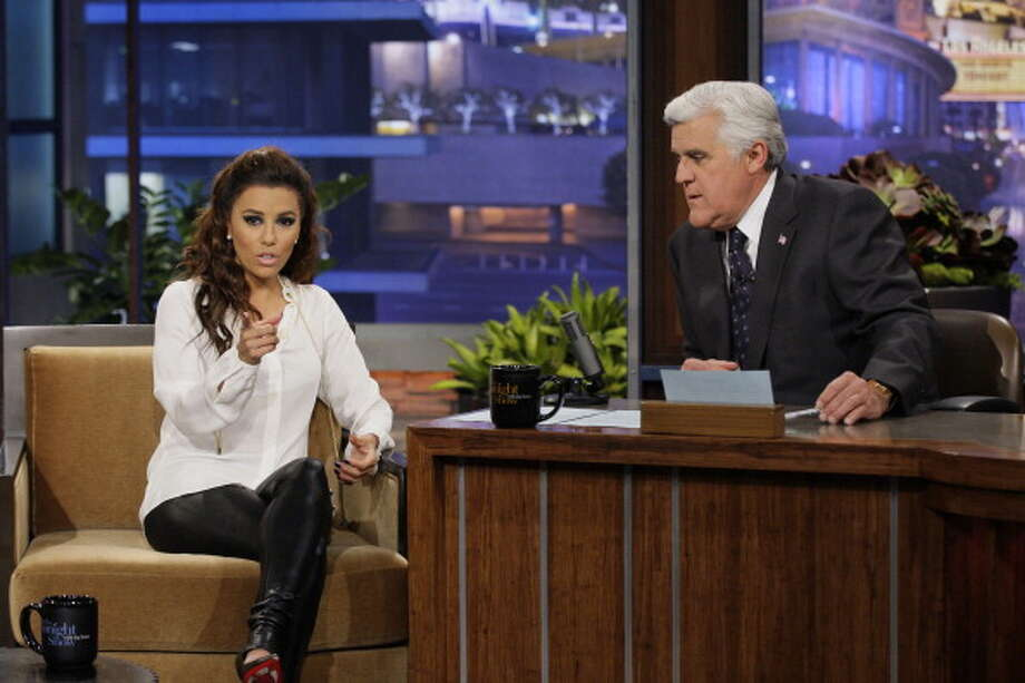 Eva Longoria during interviewed with host Jay Leno on April 4, 2013. Photo: NBC, NBCU Photo Bank Via Getty Images / 2013 NBCUniversal Media, LLC