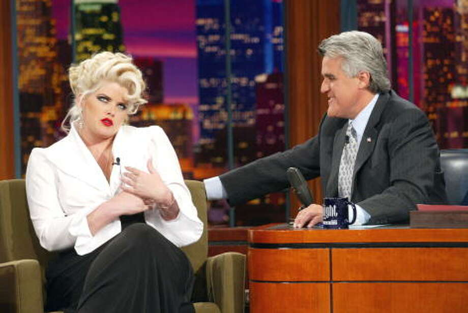 Anna Nicole Smith appeared on the show with host Jay Leno on Aug. 16, 2002. Photo: Kevin Winter, Getty Images / Getty Images North America