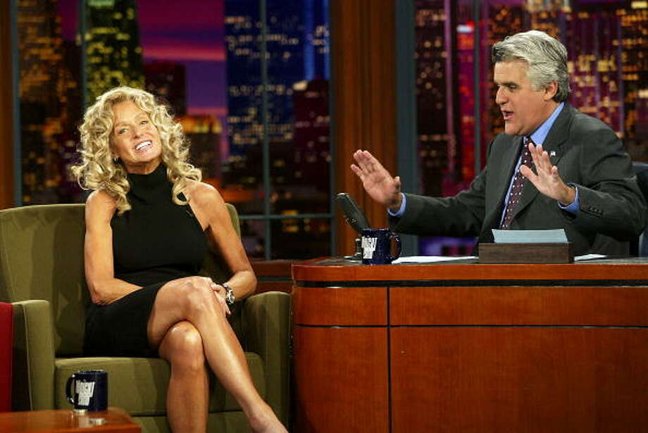 Farrah Fawcett interviewed with Jay Leno on Sept. 10, 2003. Photo: Kevin Winter, Getty Images / 2003 Getty Images
